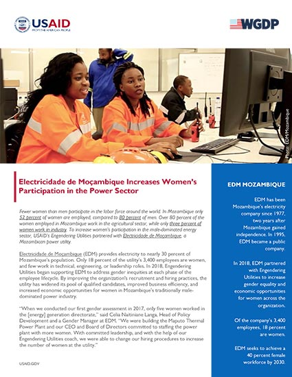 EDM Increases Women's Participation in the Power Sector