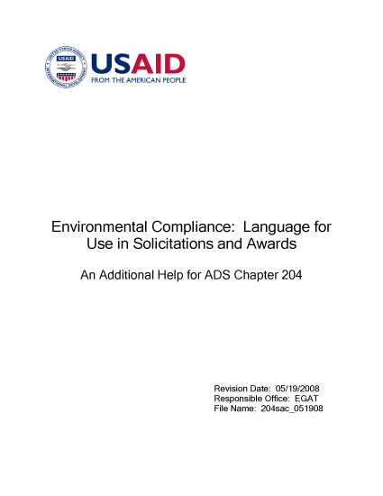 204sac: Environmental Compliance: Language for Use in Solicitations  and Awards