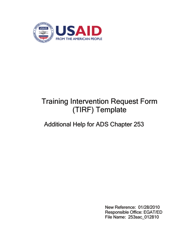ADS Reference 253sac – Request for Reference Template