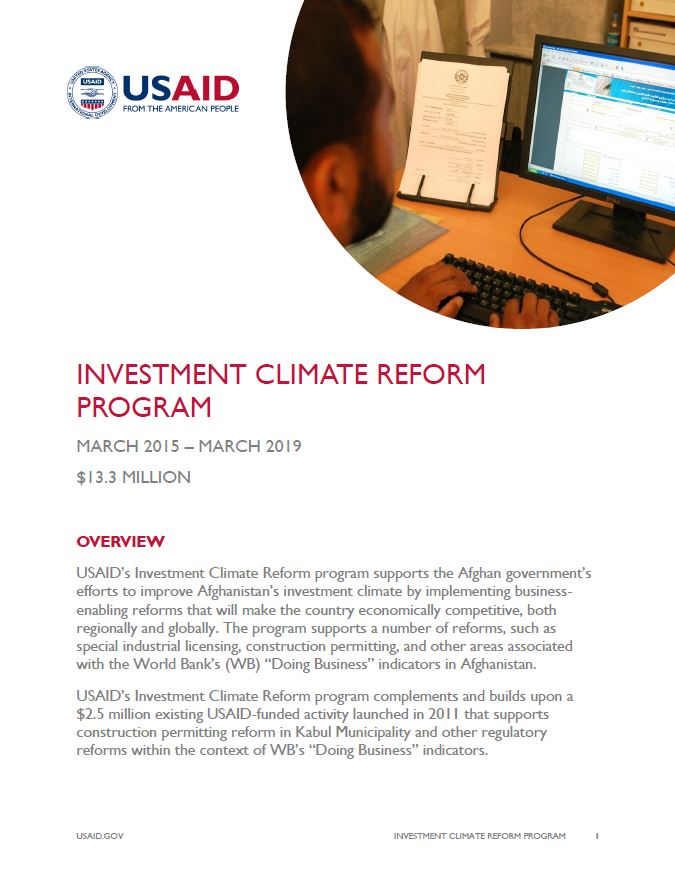 Investment Climate Reform Program in Afghanistan