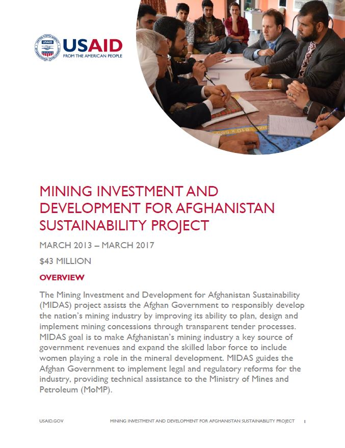 Mining Investment and Development for Afghanistan Sustainability Project