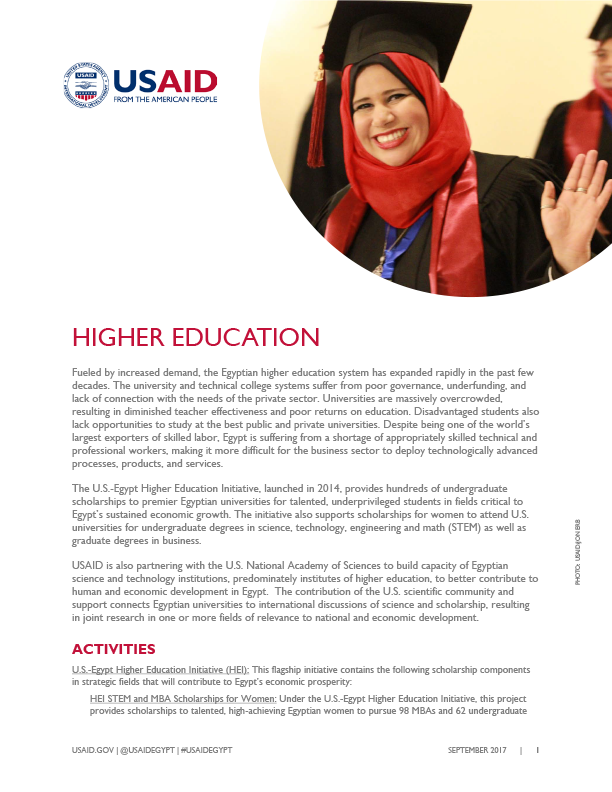 USAID/Egypt's current activities in the Higher Education sector.