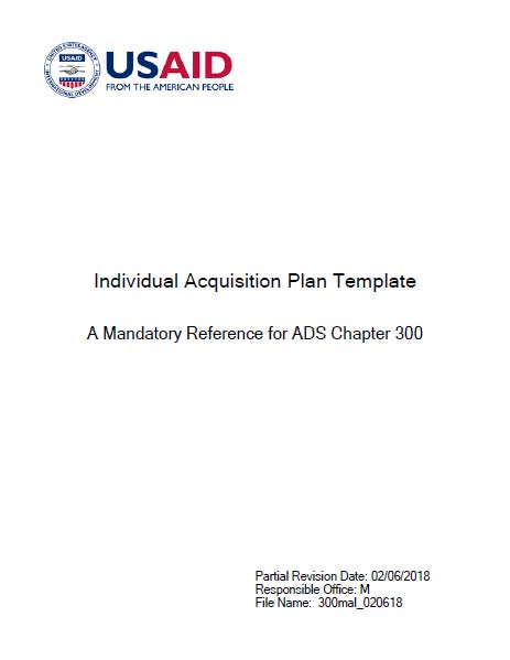 Individual Acquisition Plan Template - A Mandatory Reference for ADS ...