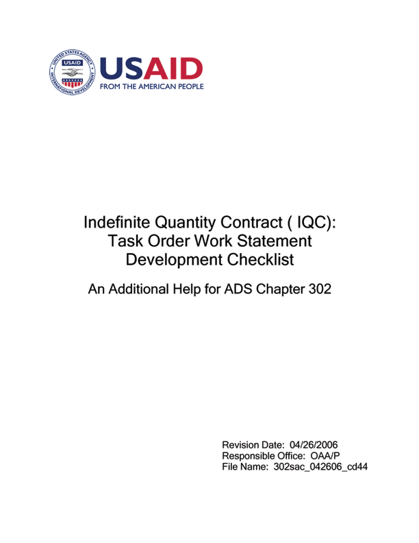 ads 302sac indefinite quantity contract iqc task order work