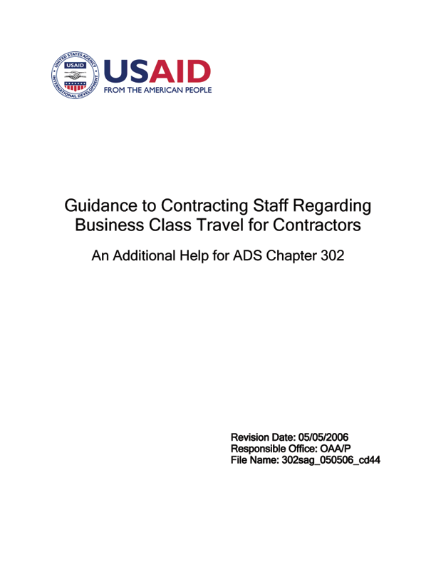 ads 302sag guidance to contracting staff regarding business class rh usaid gov Reimbursement Form federal contractor travel reimbursement guidelines