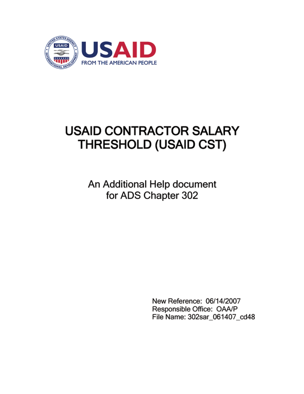 302sar - USAID CONTRACTOR SALARY THRESHOLD (USAID CST)