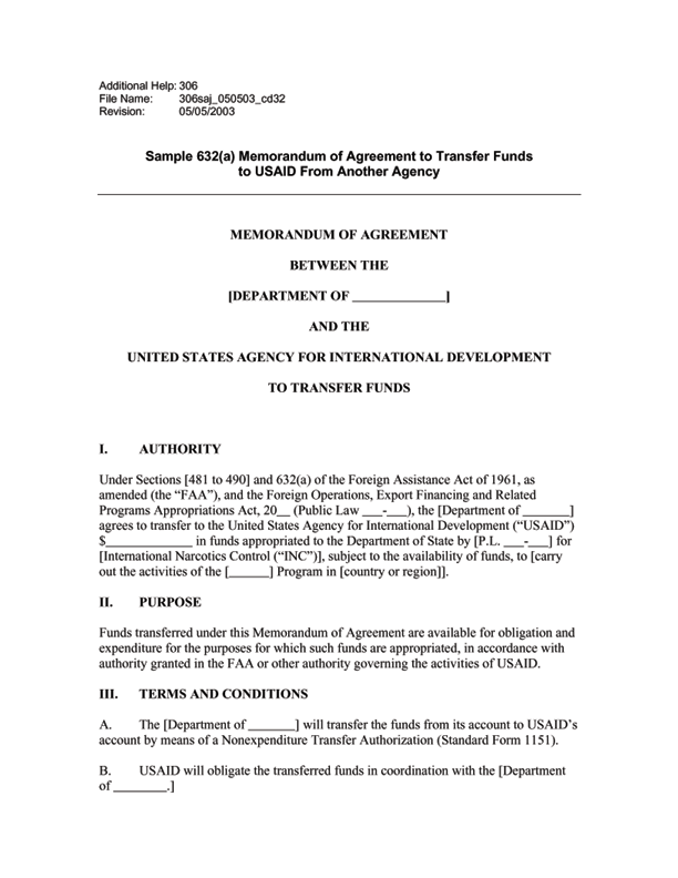 Sample 632 A Memorandum Of Agreement To Transfer Funds To Usaid