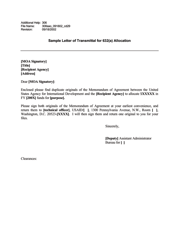 ADS Reference 306sao – Transmittal Letter Sample
