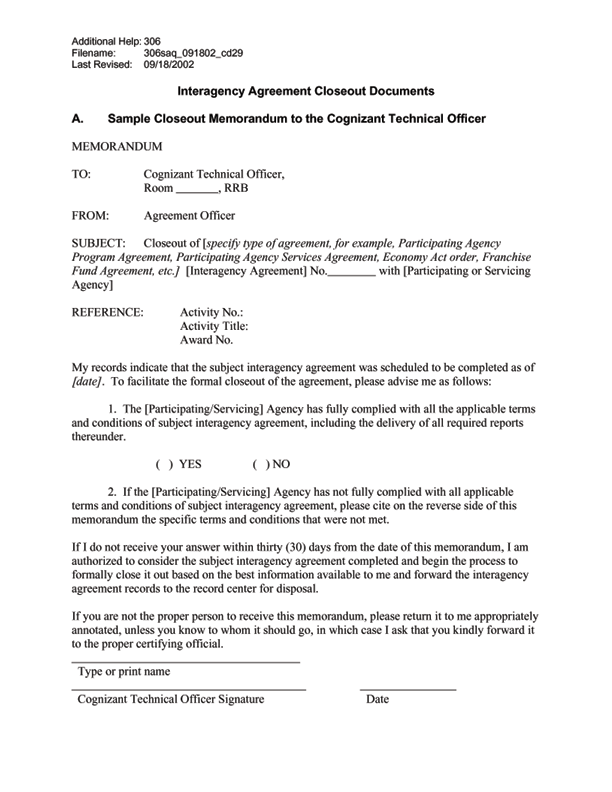 Interagency Agreement Template 28 Images 100