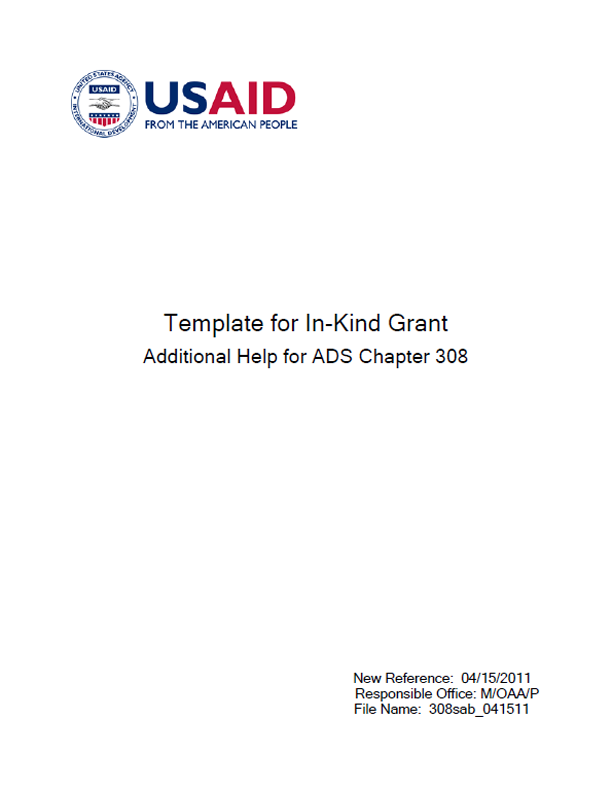Ads Additional Help Reference 308sab Template For In Kind Grant