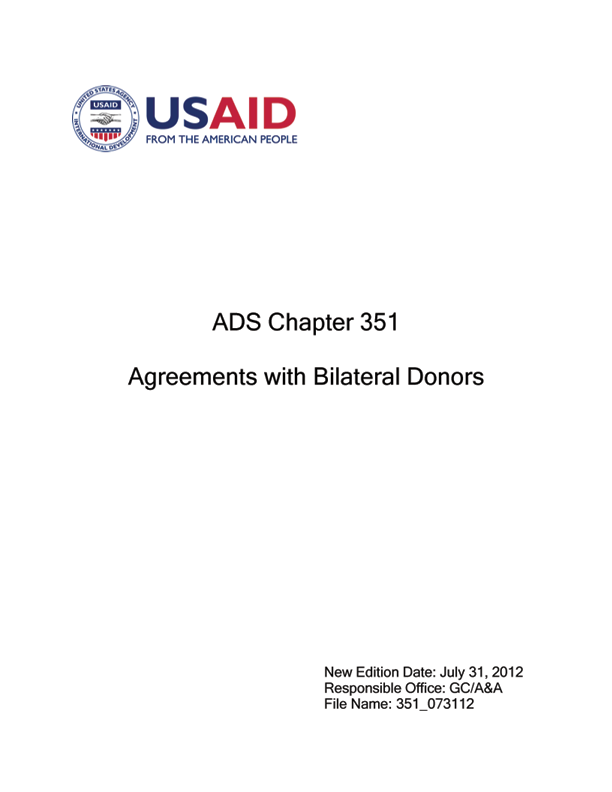 Ads Chapter 351 Agreements With Bilateral Donors Us Agency For