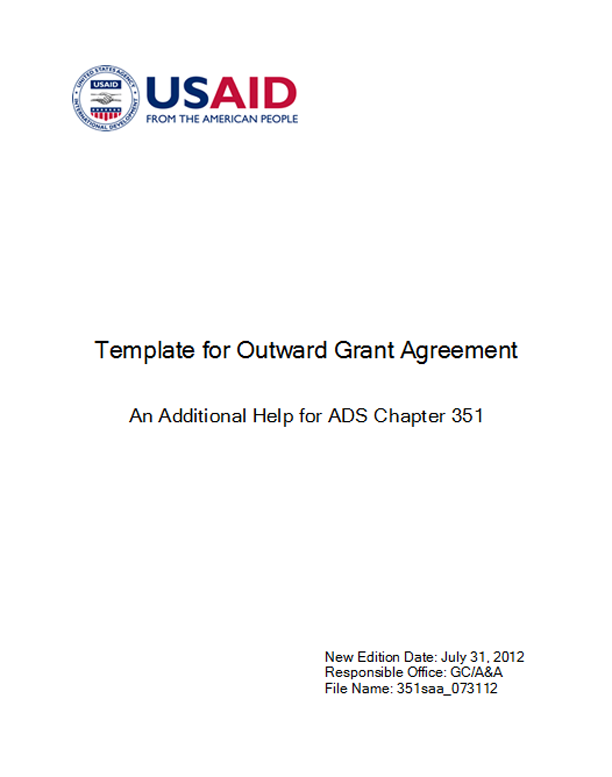 template for outward grant agreement