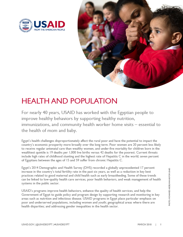 USAID/Egypt's current work in the Health sector.