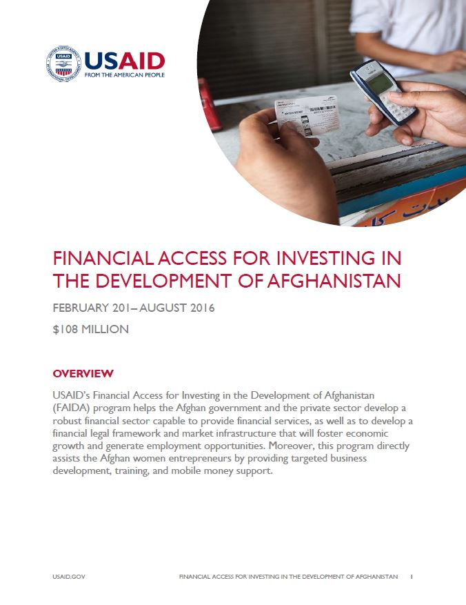 Financial Access for Investing in the Development of Afghanistan (FAIDA)