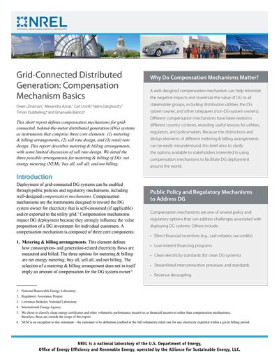 Grid-Connected Distributed Generation: Compensation Mechanism Basics
