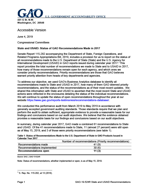 GAO-19-524R: Status of GAO Recommendations Made in 2017