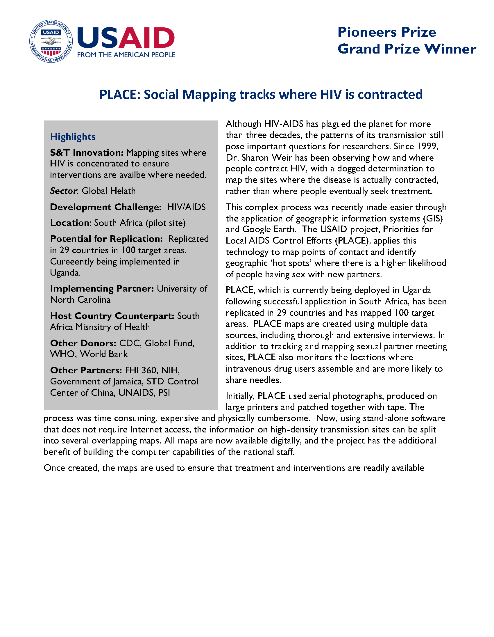 The Priorities for Local AIDS Control Efforts (PLACE) method