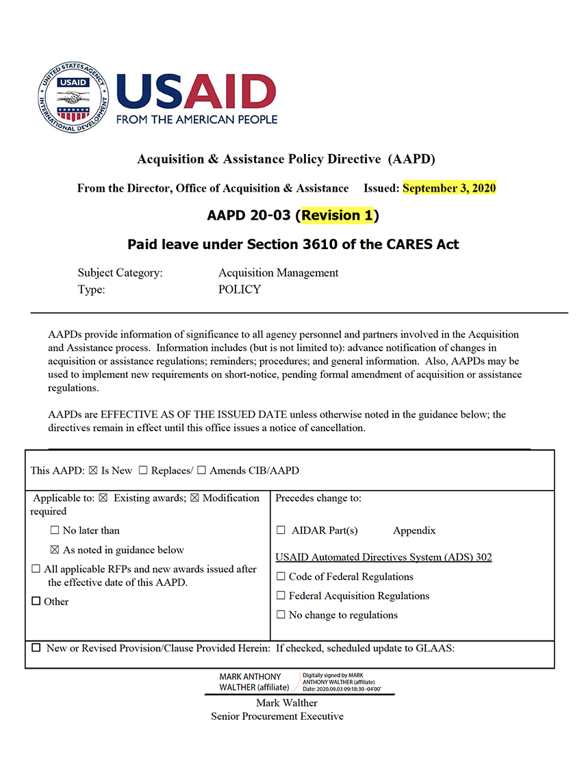AAPD 20-03 Rev1: Paid leave under Section 3610 of the CARES Act