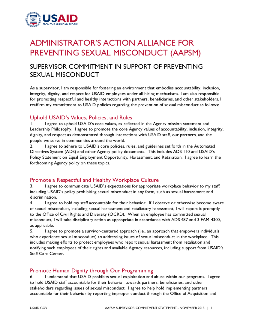Supervisor Commitment in Support of Preventing Sexual Misconduct - Click to download PDF