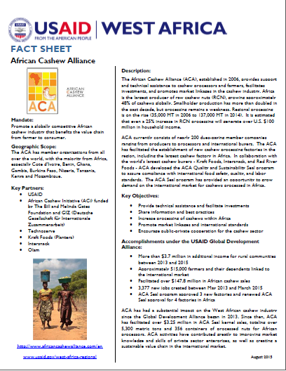 Fact Sheet on the African Cashew Alliance