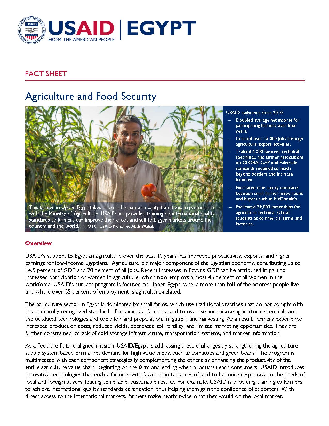 USAID/Egypt Agriculture and Food Security Fact Sheet