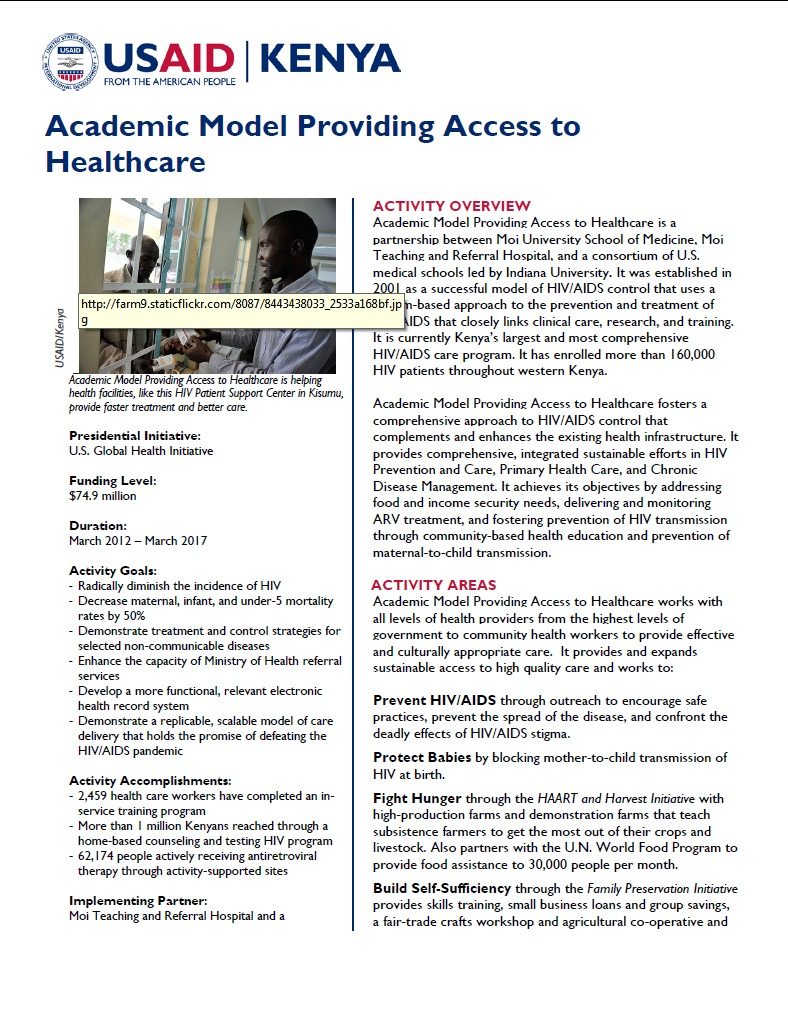 Academic Model Providing Access to Healthcare Fact Sheet_August 2014