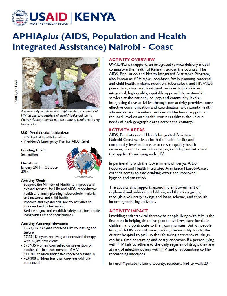APHIAplus Nairobi Coast Fact Sheet August 2014