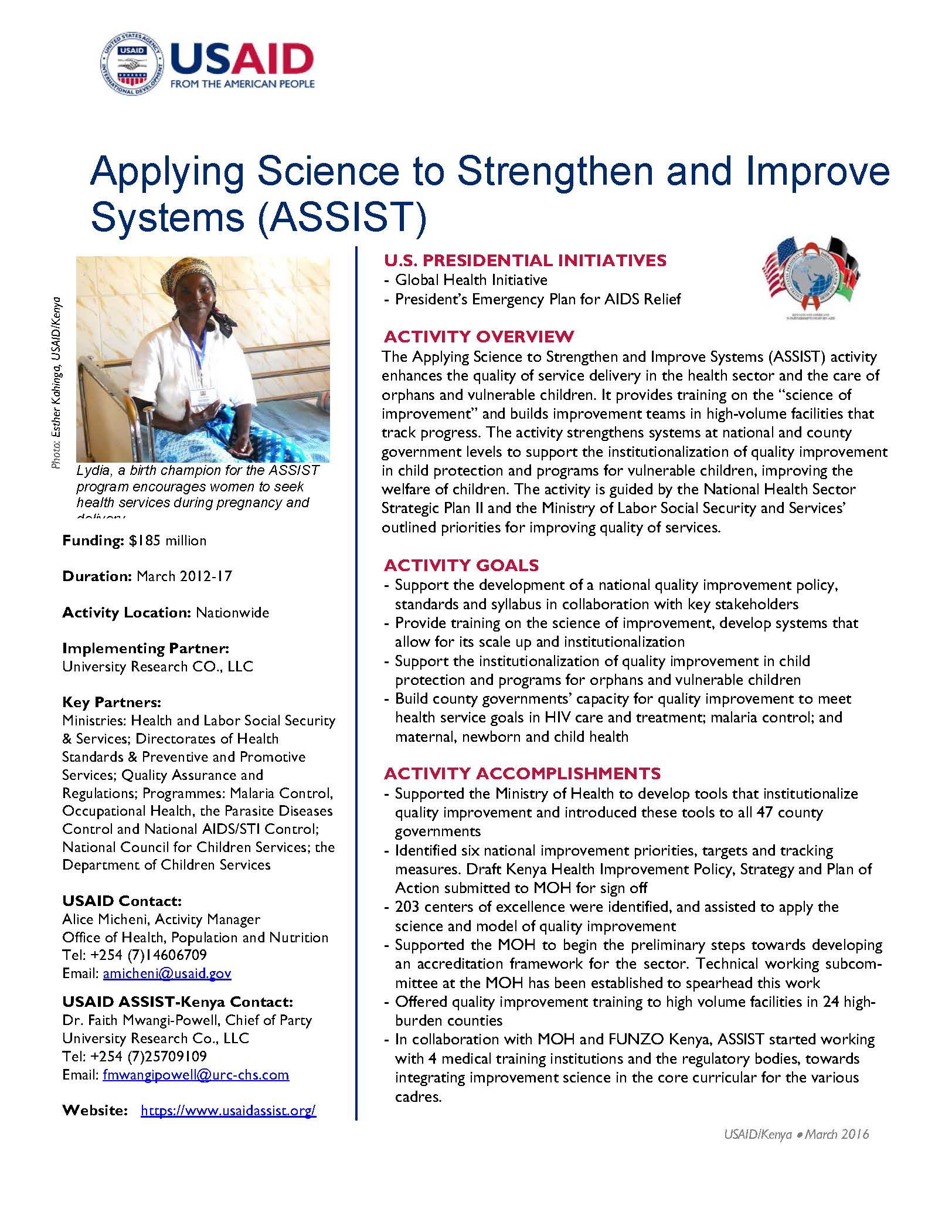 Applying Science to Strengthen and Improve Systems (ASSIST)
