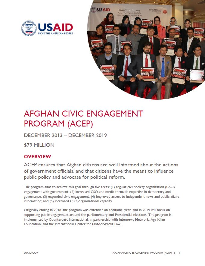Ensuring Well Informed Citizens Through >> Afghan Civic Engagement Program Acep U S Agency For