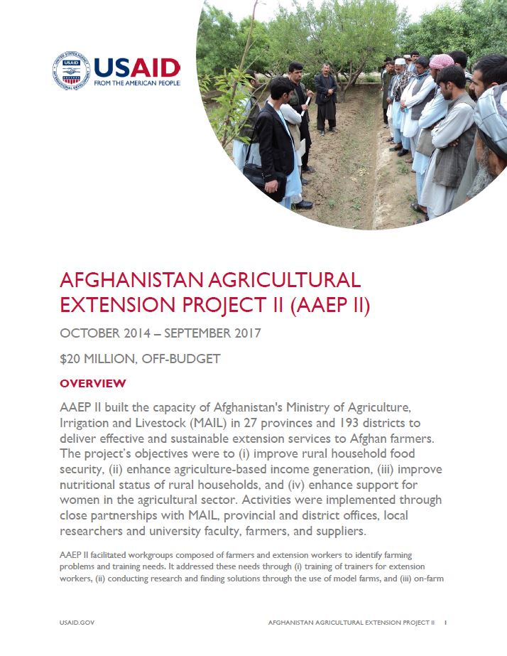 Afghanistan Agricultural Extension Project II (AAEP II)