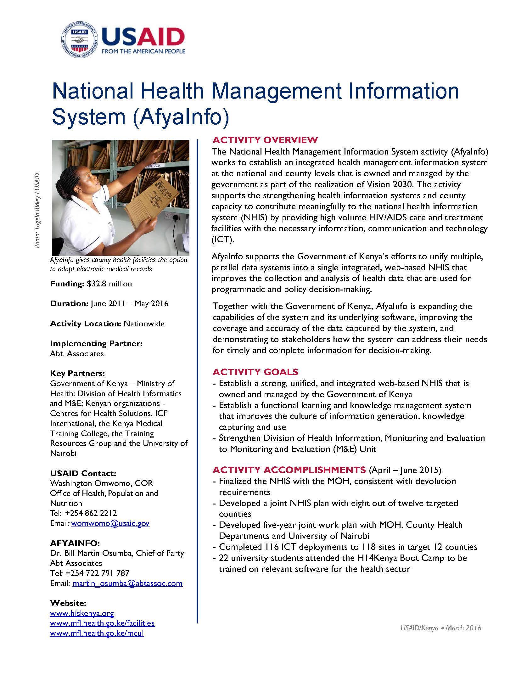 National Health Management Information System (AfyaInfo)