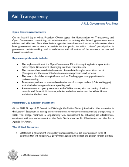 Aid Transparency - A U.S. Government Fact Sheet