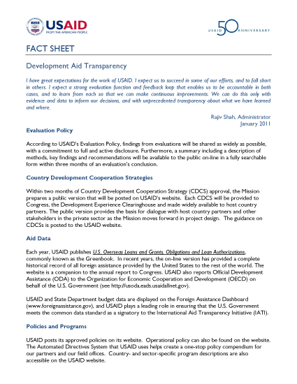 Aid Transparency - USAID Fact Sheet