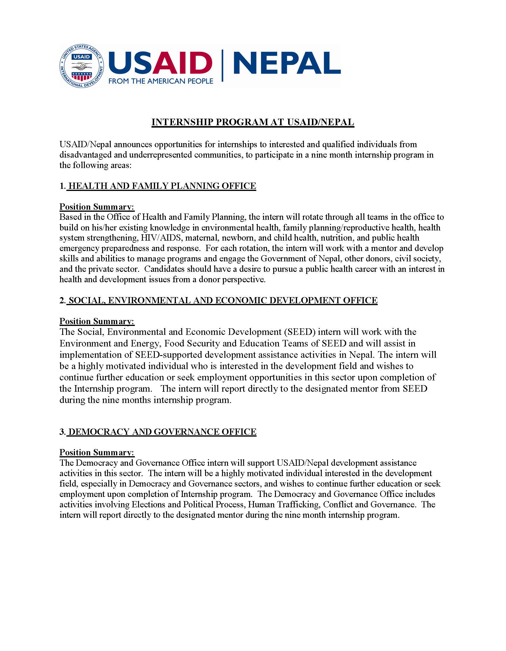 Announcement for Internship Program at USAID Nepal