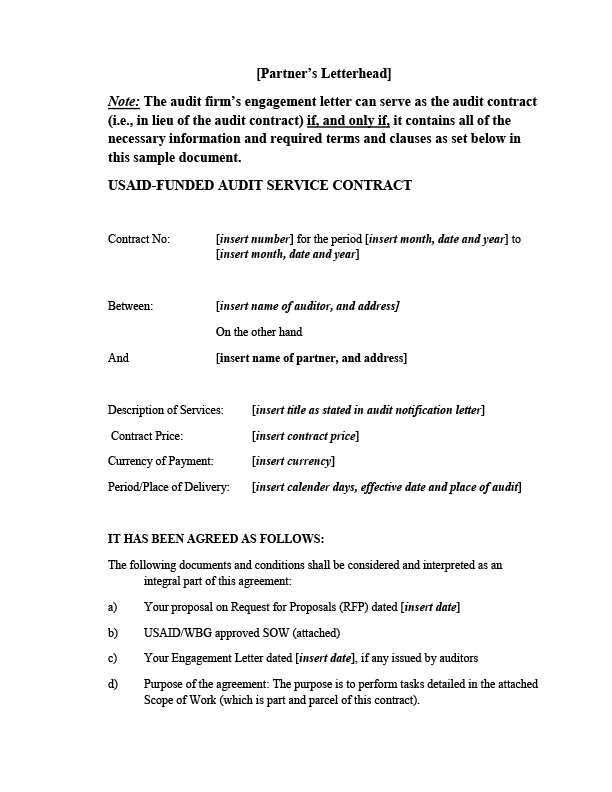 Attachment 8 F Sample Audit Contract Us Agency For