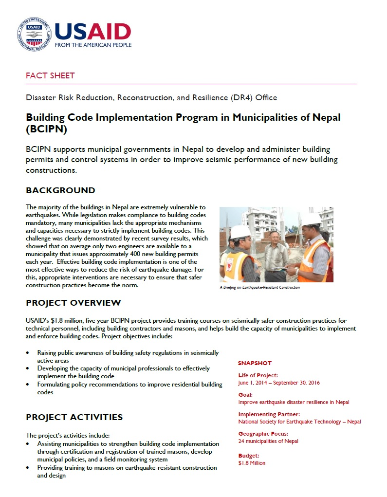 Building Code Implementation Program in Municipalities of Nepal (BCIPN)