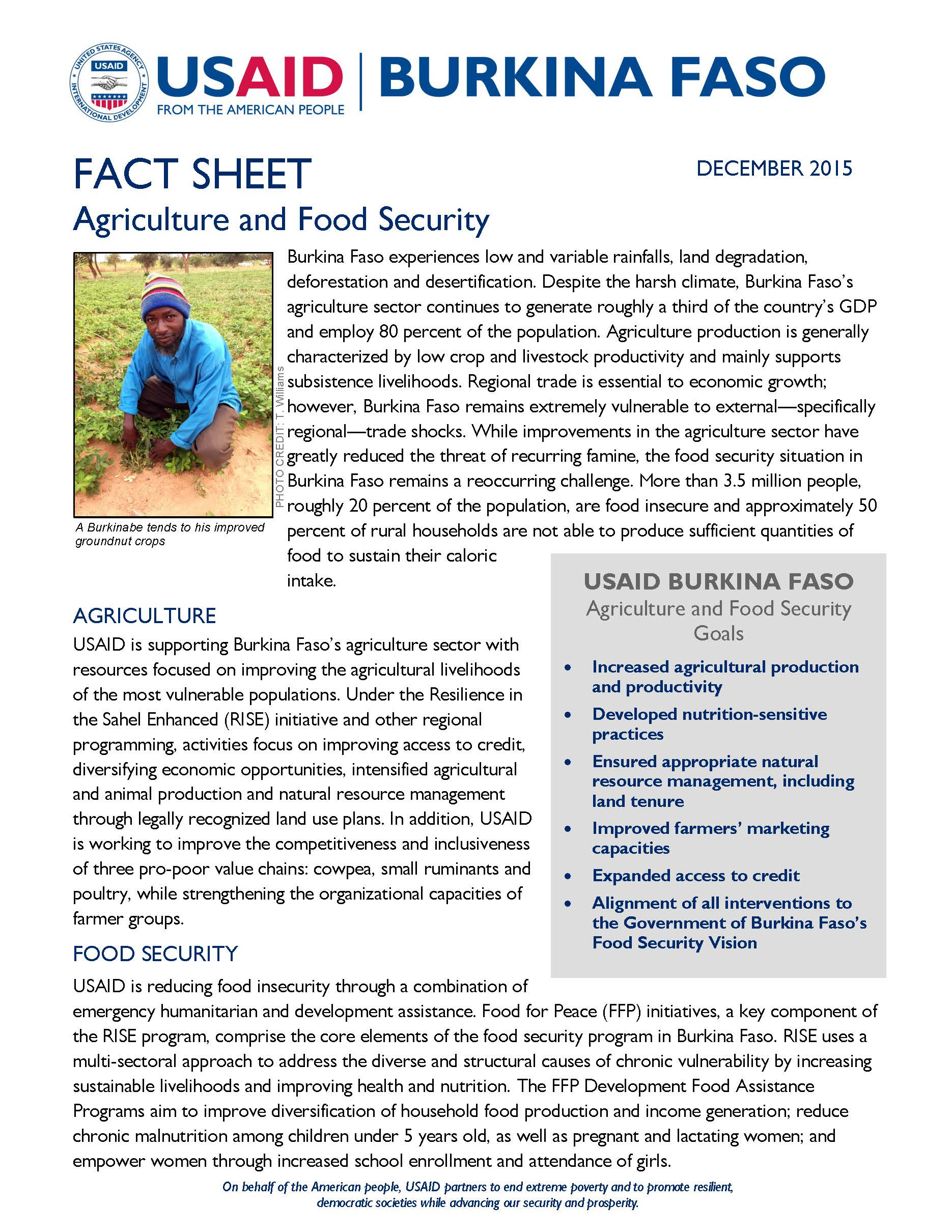 Burkina Faso Food Security Fact Sheet
