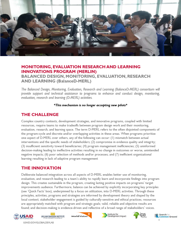 Balanced Design, Monitoring, Evaluation, Research and Learning (BalanceD-MERL)