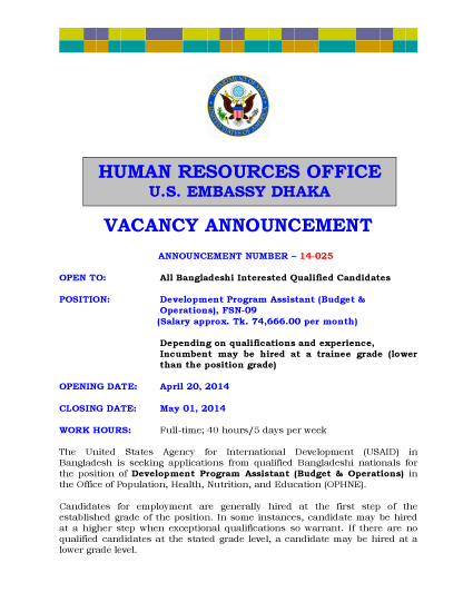 Bangladesh Vacancy Announcement 14-025 – Development Program Assistant (Budget & Operations)