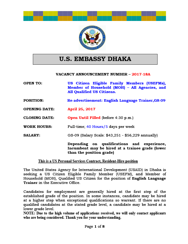 Bangladesh Vacancy Announcement – Re-advertisement: English Language Trainer, USPSC, (Resident Hire), GS-09