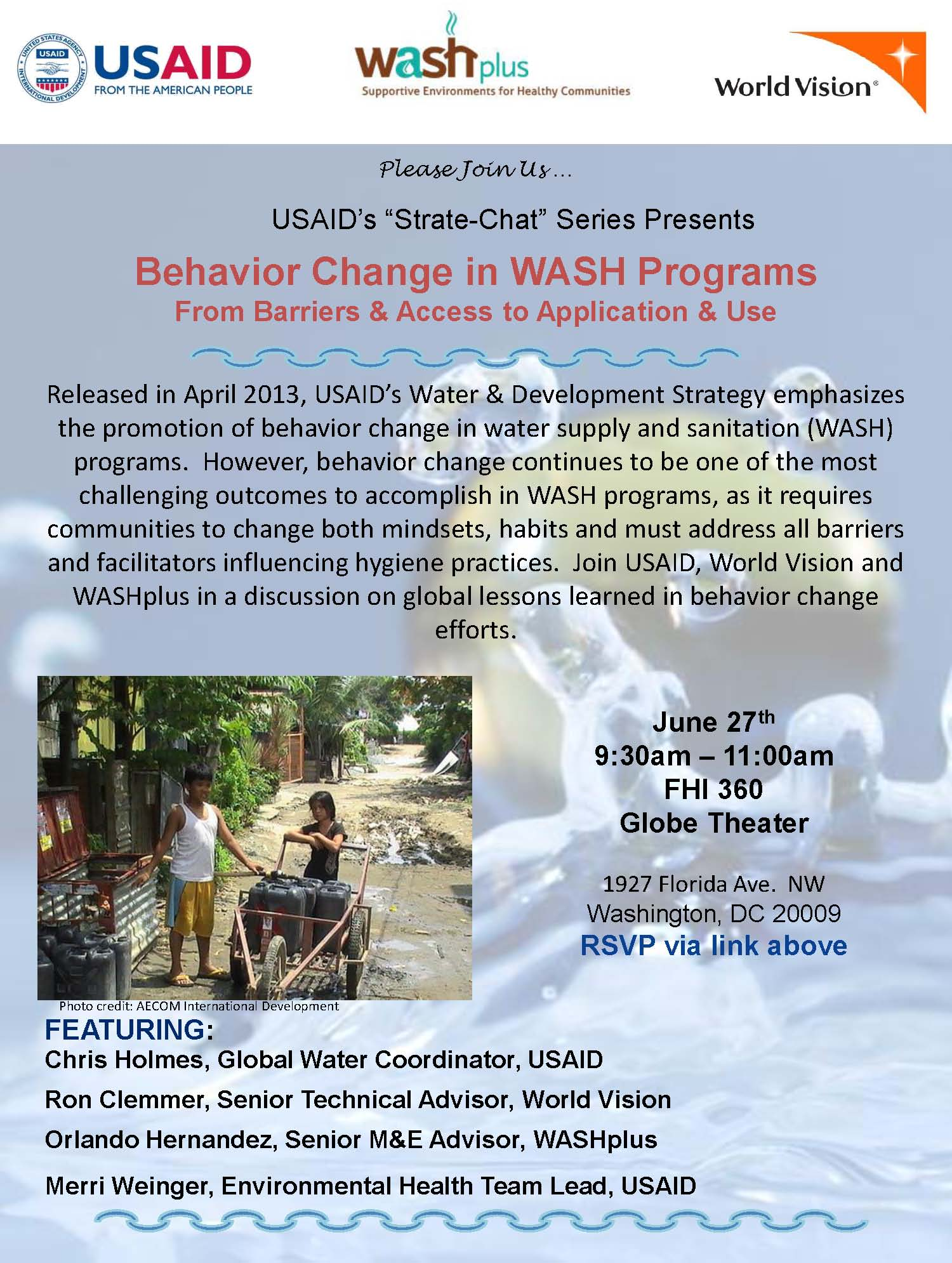 Invitation from the Behavior Change in WASH Programs: From Barriers & Access to Application & Use learning event.