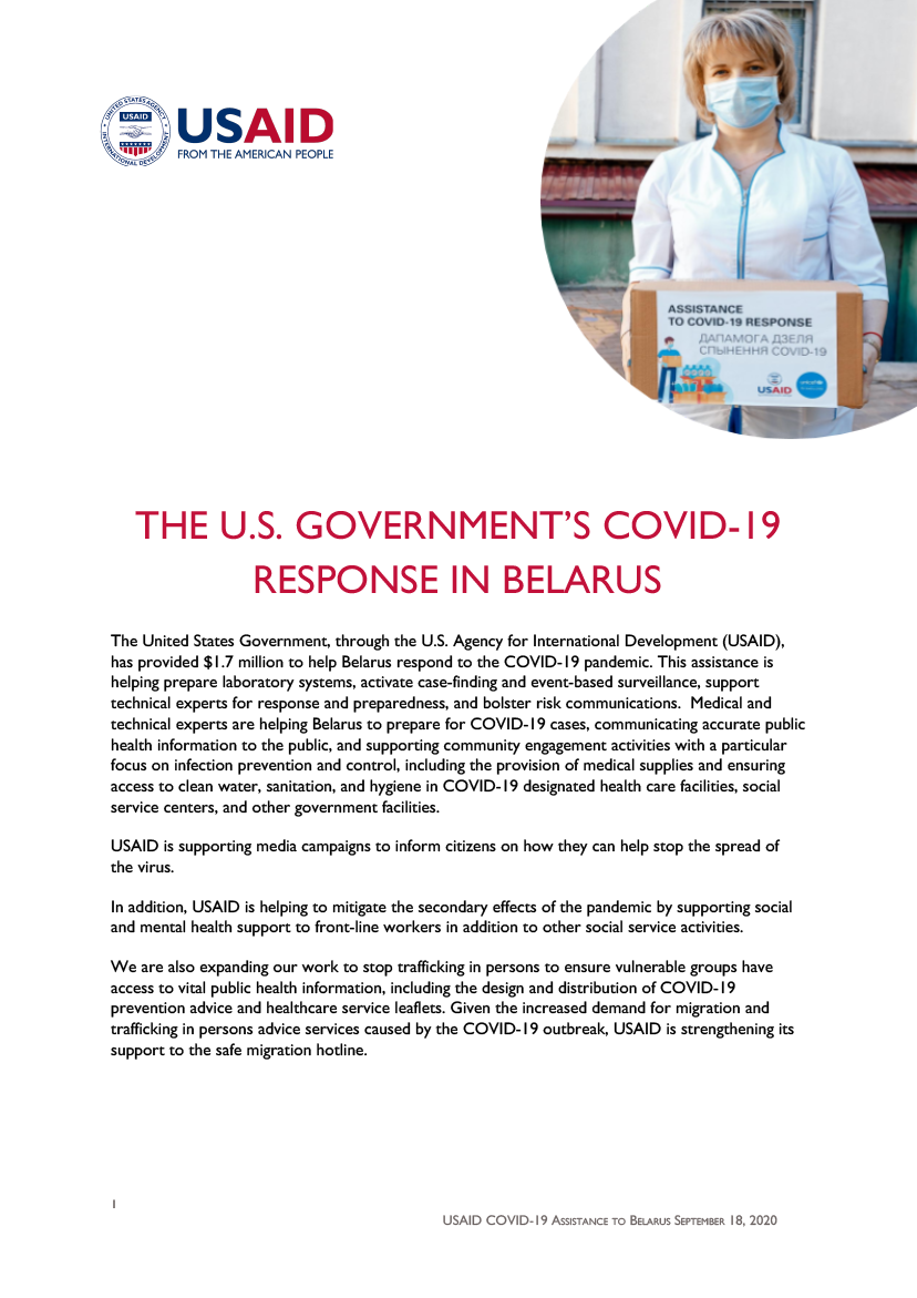 The U.S. Government's COVID-19 Response in Belarus - Updated September 2020