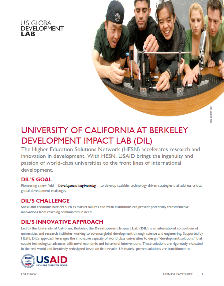 Berkeley Development Impact Lab Fact Sheet