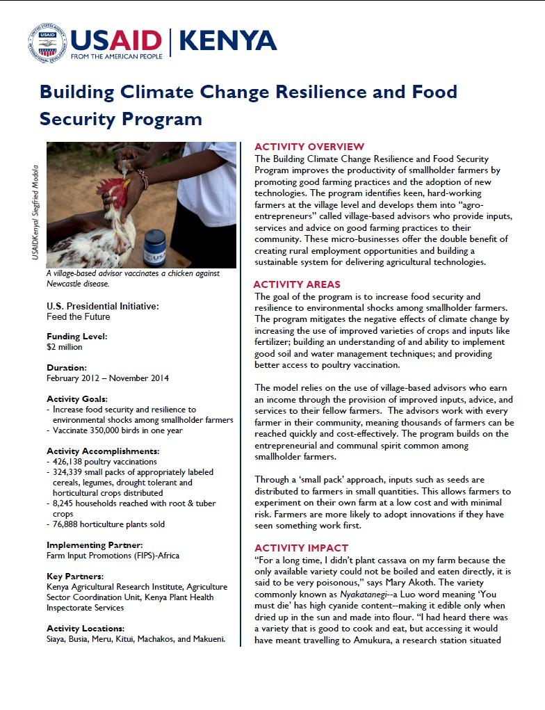 Building Climate Change Resilience and Food Security Program Fact August 2014