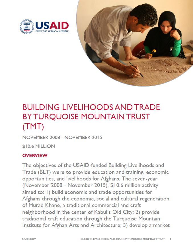 Building Livelihoods and Trade by Turquoise Mountain Foundation (TMF)
