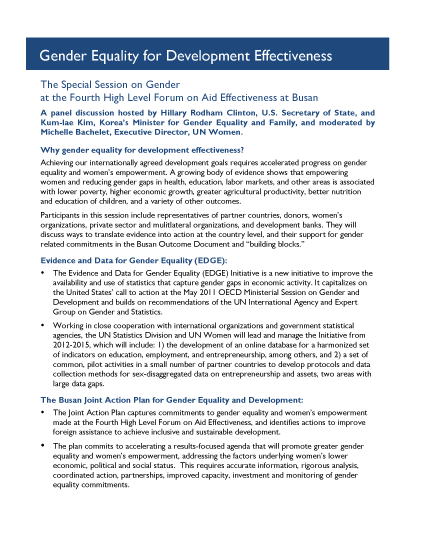 Fact Sheet: Gender Equality for Development Effectiveness