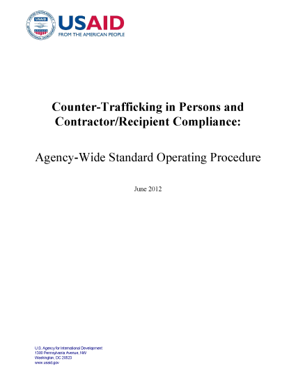 Counter-Trafficking in Persons and Contractor/Recipient Compliance