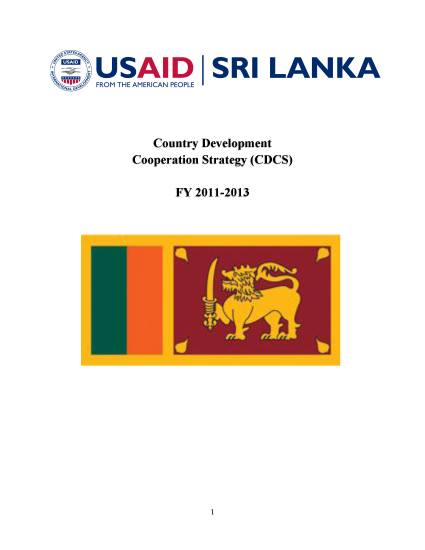 Sri Lanka Country Development Cooperation Strategy (CDCS) FY 2011-2013