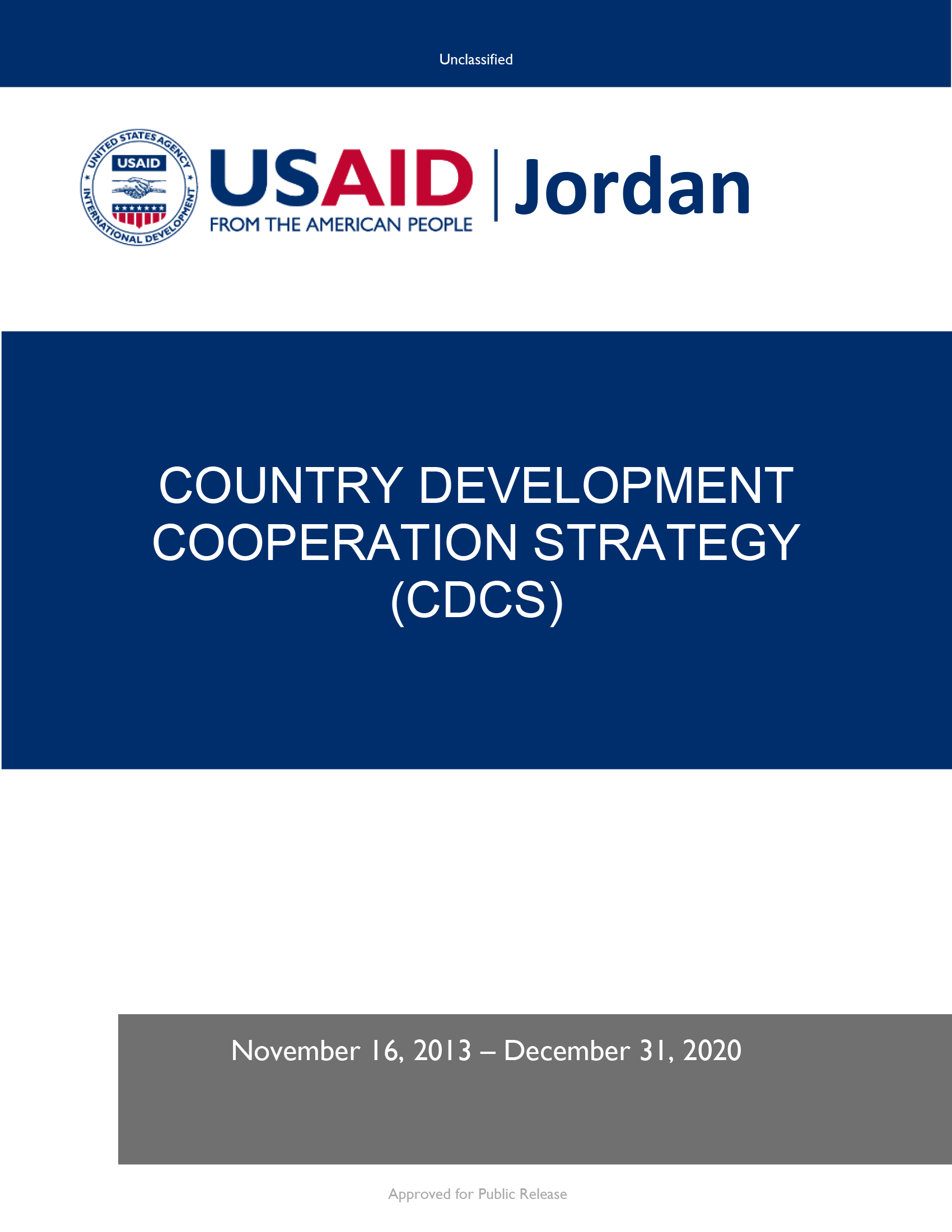 Jordan Country Development Cooperation Strategy 2013-2020