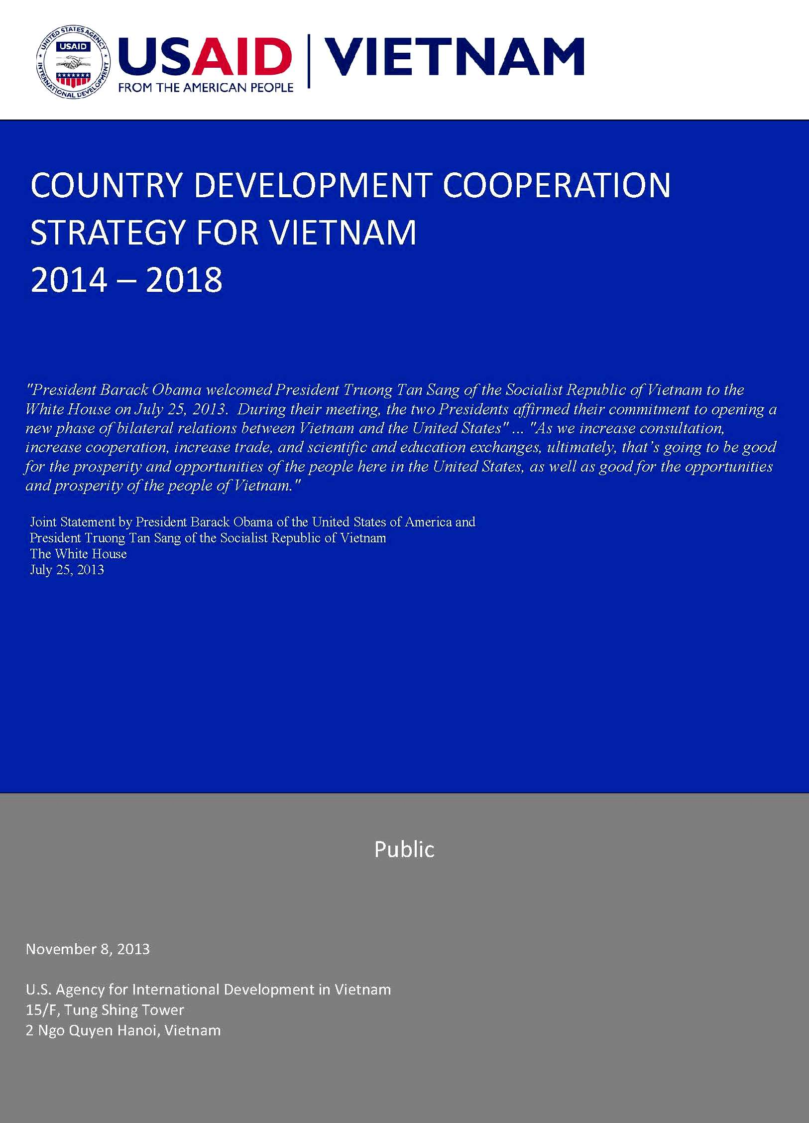 Country Development Cooperation Strategy for Vietnam (2014 - 2018)